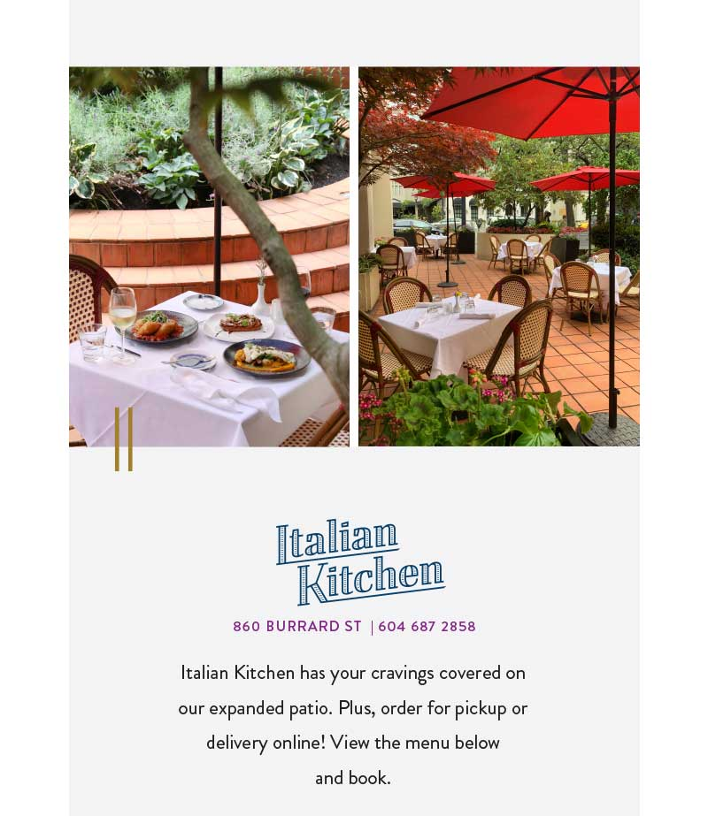 Italian Kitchen has your cravings covered on our expanded patio. Plus, order for pickup or delivery online! View the menu below  and book.
