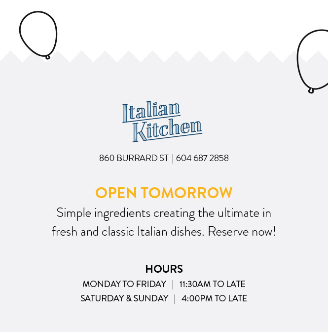 OPEN TOMORROW. Simple ingredients creating the ultimate in fresh and classic Italian dishes. Reserve now!